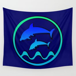 Dolphin Jumping Hoop Wall Tapestry
