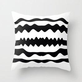 Monochrome Soundwaves Throw Pillow
