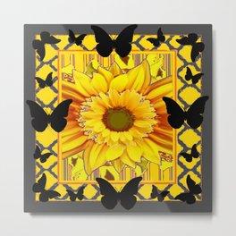 EBONY BUTTERFLIES YELLOW SUNFLOWER GREY ART Metal Print
