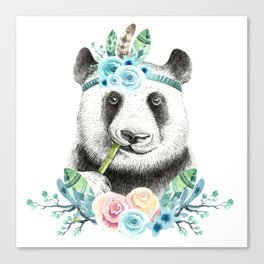 Watercolor Floral Spray Boho Panda Canvas Print