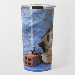 Cat on Blue Wall Travel Mug