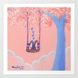 Penguins in Love on Their Tree Swing in a Pink Sky Art Print