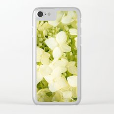 The flowers of white hydrangeas. Clear iPhone Case