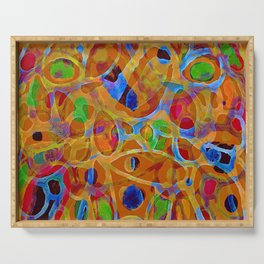 Orange Blue Green Color Blob Abstract Serving Tray