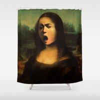 mona lisa Shower Curtains featuring Caravaggio's Mona Lisa by Gravityx9