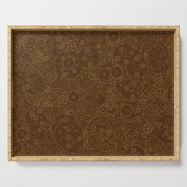 Clockwork Retro / Cogs and clockwork parts lineart pattern in brown and gold Serving Tray