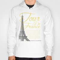 tour de france Hoodies featuring Tour De France Eiffel Tower by Wyatt Design