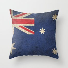 Old and Worn Distressed Vintage Flag of Australia Throw Pillow