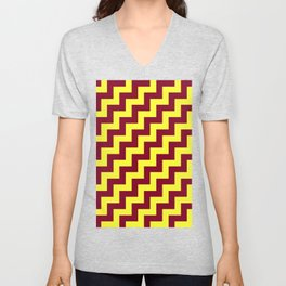 Electric Yellow and Burgundy Red Steps RTL Unisex V-Neck