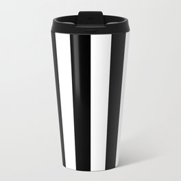 Black & White Vertical Stripes- Mix & Match with Simplicity of Life Travel Mug