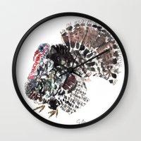 turkey Wall Clocks featuring Turkey by Elena Sandovici