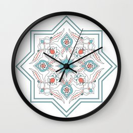 Turquoise Floral Tile Art Wall Clock