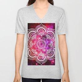 Galaxy Mandala Red Fuchsia Purple Pink Unisex V-Neck