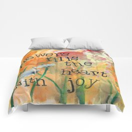 Flowers and Joy by Seattle Artist Mary Klump Comforters
