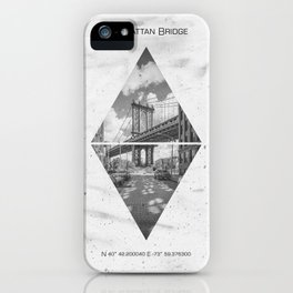 Coordinates NEW YORK CITY Manhattan Bridge iPhone Case