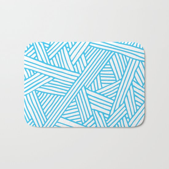 Abstract Teal & white Lines and Triangles Pattern-Mix and Match with Simplicity of Life Bath Mat