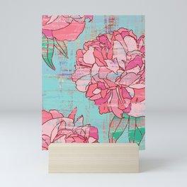 Pink roses, floral print in pastels Mini Art Print