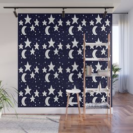 Starry Night Cartoon Print Pattern Wall Mural