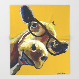 Yellow Glasses Cow, Cow up close glasses Throw Blanket