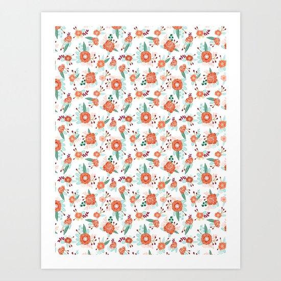 Autumn Fall florals cute winter christmas theme pattern print Art Print