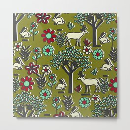 Joyful orchard with bunnies and deer Metal Print