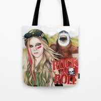 rock n roll Tote Bags featuring ROCK N ROLL by ●•VINCE•●