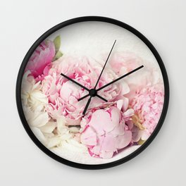Peonies on white Wall Clock