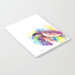 Sea Turtle in Coral Reef, tropical colors sea world purple yellow blue turtle art, turtle illustrati Notebook