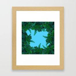 GREEN & BABY BLUE  FERN LEAVES ART Framed Art Print