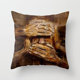 No see - No hear - No speak ! Nothing ! Throw Pillow