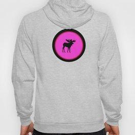 Bull Moose Silhouette - Black on Pink Hoody
