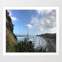 Alternate View: Lion Rock, Piha Beach, Auckland, New Zealand Art Print