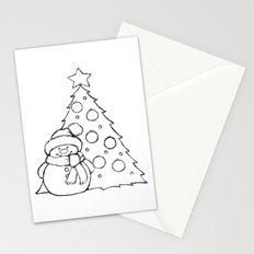 Snowman and Christmas tree AZ01 Stationery Cards