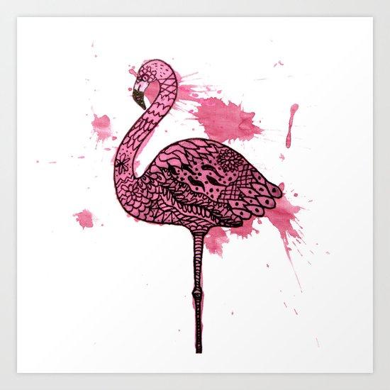Flamingo Watercolor Print Art Print
