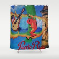 puerto rico Shower Curtains featuring Puerto Rico Oil painting Prints  by Huesca Arts by Yolanda Huesca