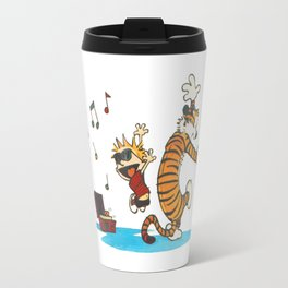 calvin and hobbes dancing with music Travel Mug