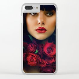 Beautiful Fashion Girl with Roses Clear iPhone Case