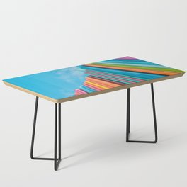 Colorful Rainbow Pipes Against Blue Sky Coffee Table