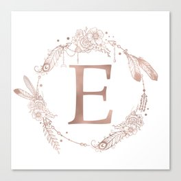 Letter E Rose Gold Pink Initial Monogram Canvas Print