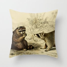 Naturalist Raccoons Throw Pillow