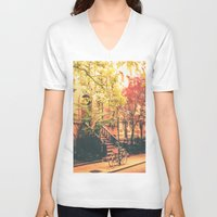 new york city V-neck T-shirts featuring New York City by Vivienne Gucwa