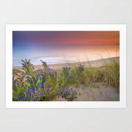 """""""Purple flowers at the sea sunset"""" Art Print"""