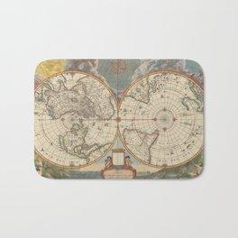 1672 World Polar Projection Map  Bath Mat