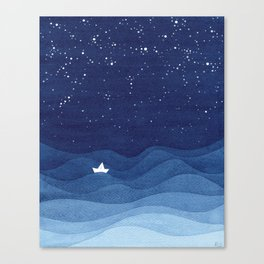 blue ocean waves, sailboat ocean stars Canvas Print