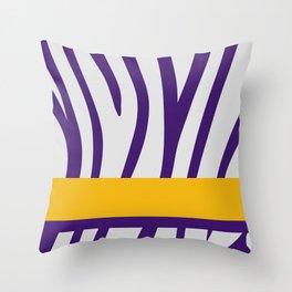 Royal Purple/White Zebra Stripe Pattern w/ Gold/Purple Divider Lines Throw Pillow