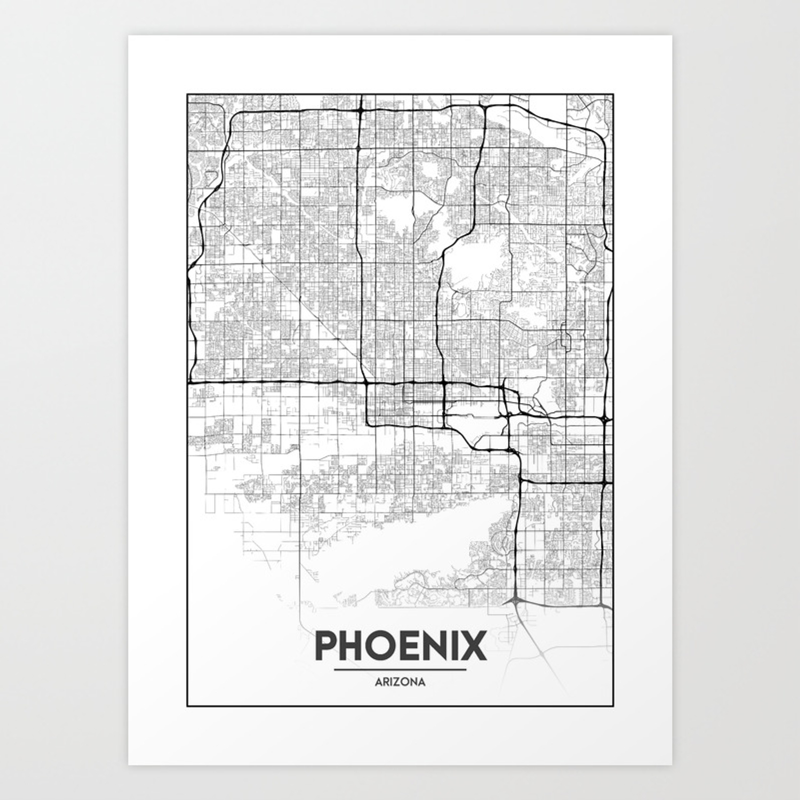 Minimal City Maps - Map Of Phoenix, Arizona, United States Art Print