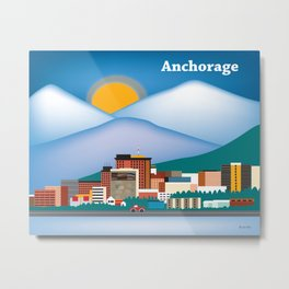 Anchorage, Alaska - Skyline Illustration by Loose Petals Metal Print