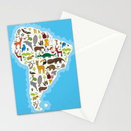 South America sloth anteater toucan lama bat seal armadillo boa manatee monkey dolphin Maned wolf Stationery Cards