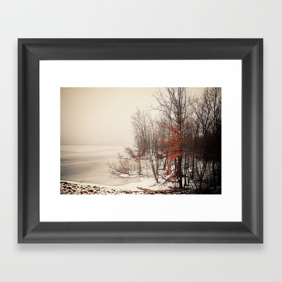 On winters frozen pond Framed Art Print