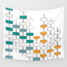 mid-century space love totems Wall Tapestry